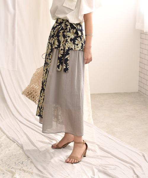 花柄プリントサイド切替リボンスカート
