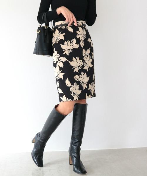 AMBIENT(アンビエント)の「モダンフラワープリントスカート(スカート)」|ブラック