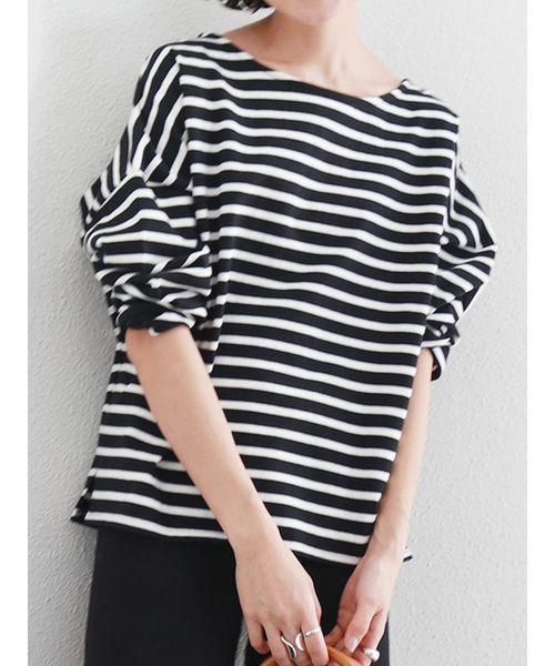 Ungrid(アングリッド)の「サイドスリットボーダーロングスリーブTee(Tシャツ/カットソー)」|ブラック