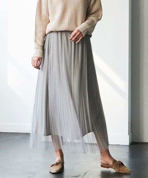 GeeRA(ジーラ)の「【WEB限定】チュールプリーツロングスカート(スカート)」 グレー