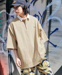 Mark Gonzales/マークゴンザレス MONO-MART別注 ロゴ刺繍 ビッグシルエット サイドポケット 半袖ラガーシャツベージュ