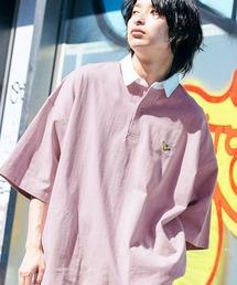 Mark Gonzales/マークゴンザレス MONO-MART別注 ロゴ刺繍 ビッグシルエット サイドポケット 半袖ラガーシャツライラック