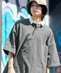 Mark Gonzales/マークゴンザレス MONO-MART別注 ロゴ刺繍 ビッグシルエット サイドポケット 半袖ラガーシャツチャコールグレー