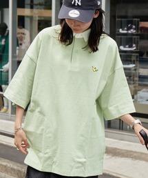 Mark Gonzales/マークゴンザレス MONO-MART別注 ロゴ刺繍 ビッグシルエット サイドポケット 半袖ラガーシャツライトグリーン