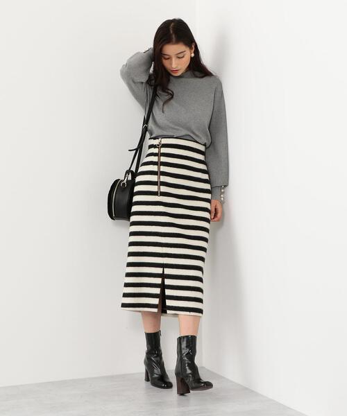 SMF ウールシャギー ボーダータイトスカート