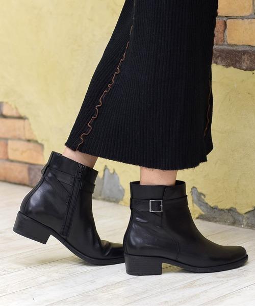 neue diffusion(ノイエディフュージョン)の「ベルト付ショートブーツ/4426大きいサイズ(ブーツ)」|ブラック