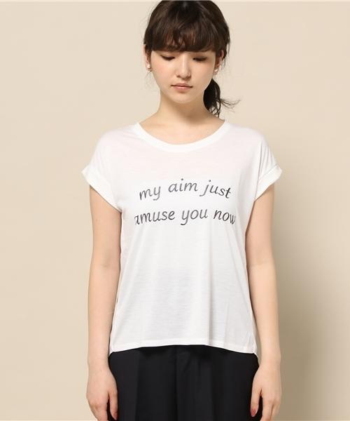 [GIORDANO]切替バックシフォングラフィックTシャツ