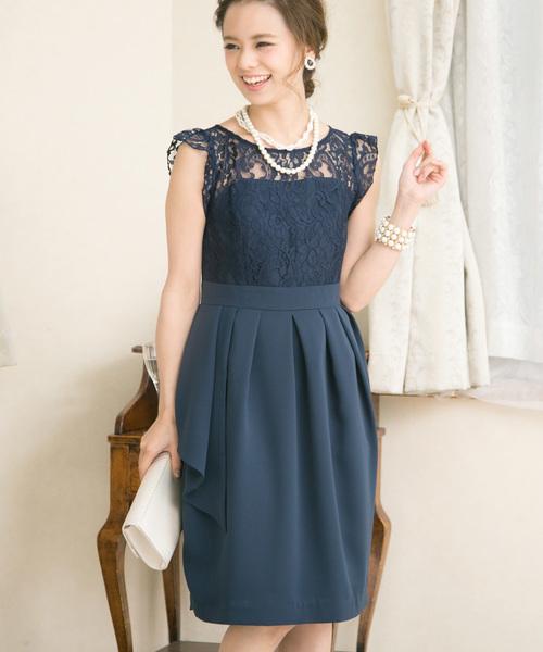 PourVous(プールヴー)の「アシンメトリーシースルーレースドレス・ワンピース(ドレス)」|ネイビー