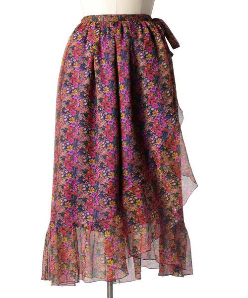 Drawer フラワープリントラップスカート