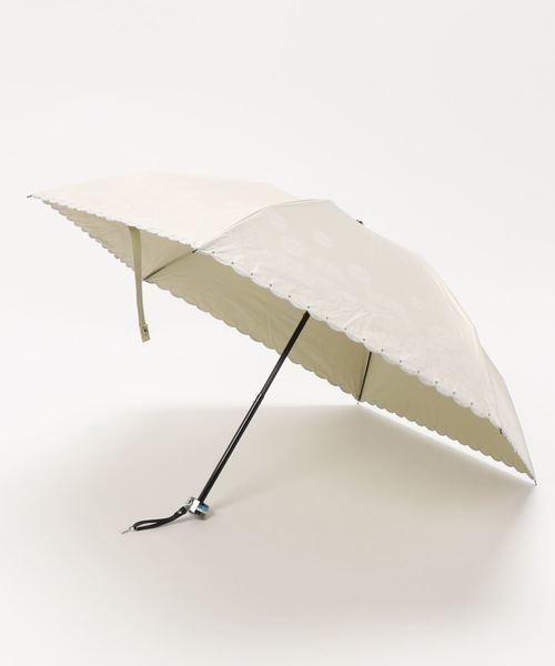 晴雨兼用折りたたみ傘 'デイジー スカラ刺繍'