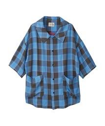 SUPER HYS刺繍 オーバーサイズシャツブルー