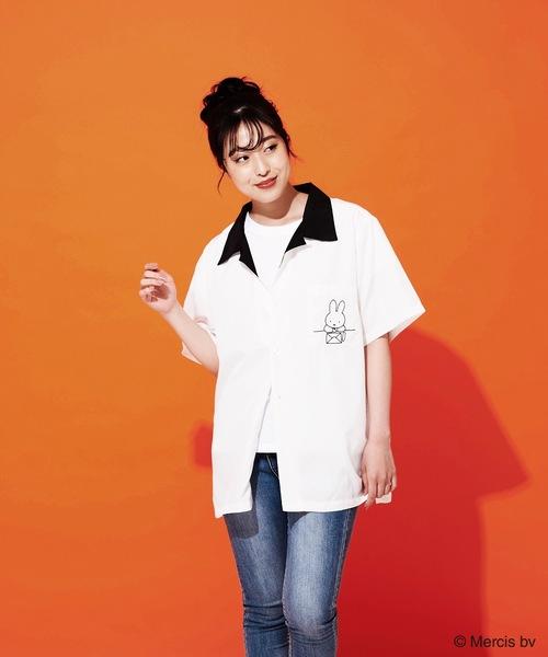 【MIFFY/ミッフィー】バックプリントオープンカラー(開襟)シャツ