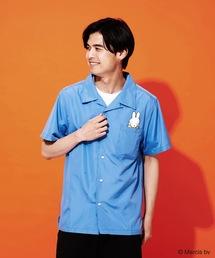 【MIFFY/ミッフィー】バックプリントオープンカラー(開襟)シャツブルー