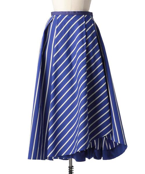 Drawer ブルーストライプフレアスカート