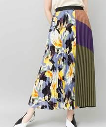 OSMOSIS(オズモーシス)のプリントプリーツスカート(スカート)
