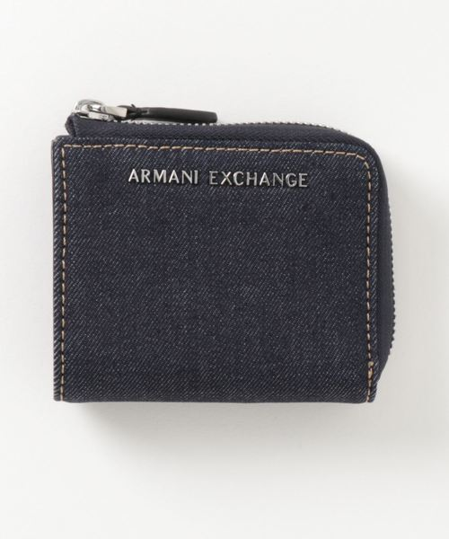 【A|Xアルマーニ エクスチェンジ】デニム L字ファスナーミニ財布