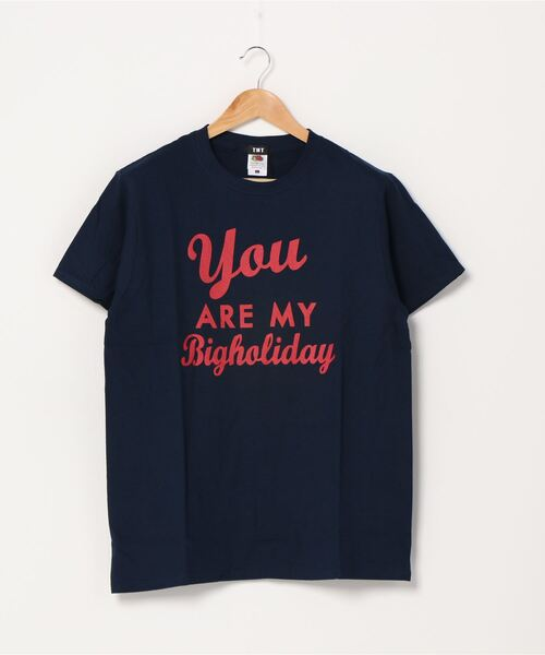 TMT(ティーエムティー)の「【TBSドラマ「この恋あたためますか」着用】TMT×FRUIT OF THE LOOM TEE (You ARE MY BH)(Tシャツ/カットソー)」|ネイビー
