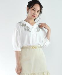 刺繍開襟シャツホワイト