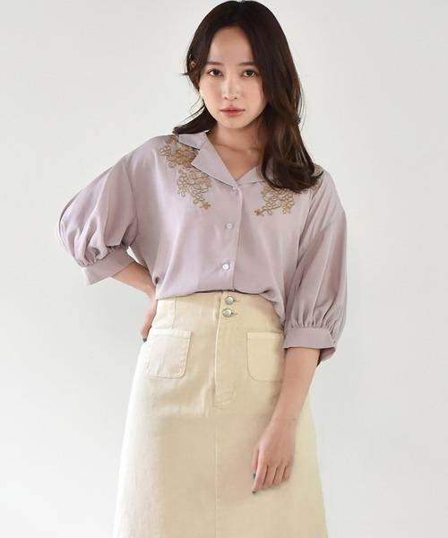 刺繍開襟シャツ