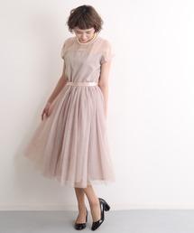 merlot plus(メルロープリュス)のデコルテシースルーチュールスカートワンピース2404(ドレス)