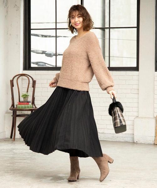 KOBE LETTUCE(コウベレタス)の「フェイクウールミディアム丈フレアプリーツスカート(スカート)」|ブラック