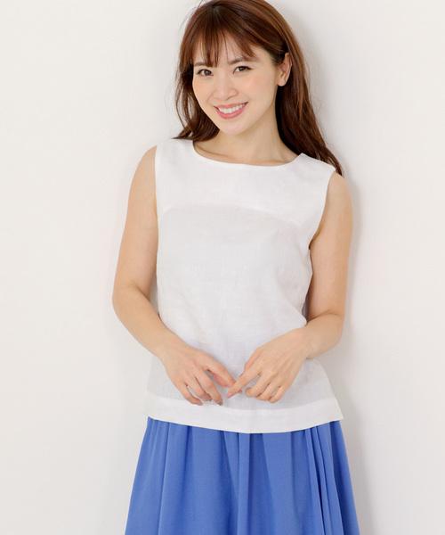 MEW'S REFINED CLOTHES(ミューズリファインドクローズ)の「洗えるフレンチリネンノースリブラウス(シャツ/ブラウス)」|ホワイト