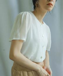 select MOCA(セレクトモカ)のシェルボタンブラウス/サテン調コットンブレンド半袖シャツ(シャツ/ブラウス)