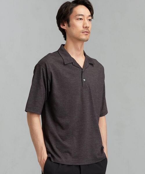 CM ドライ ウール ミックス オープンカラー ポロシャツ