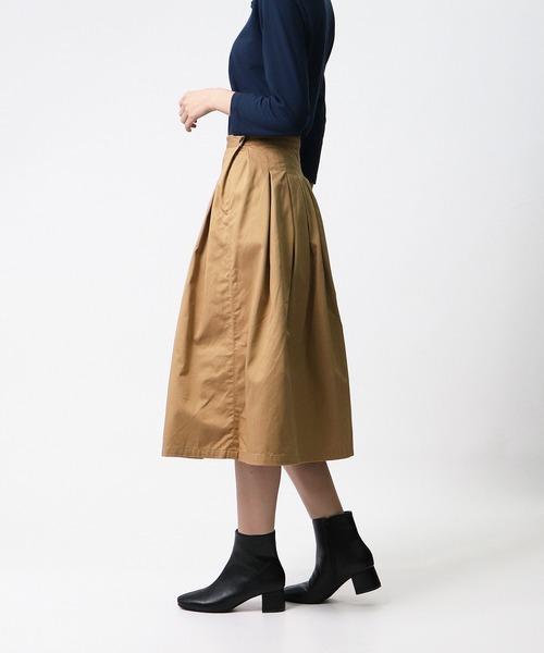 【GRANDMA MAMA DAUGHTER/グランマ ママ ドーター】# CHINO TUCK PLEATS SKIRT チノタックプリーツスカート GK001
