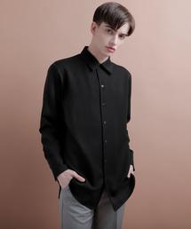 TRストレッチオープンカラーシャツブラック