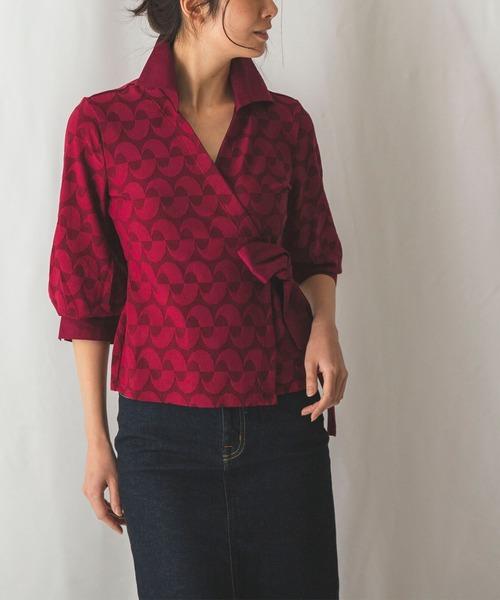 NARACAMICIE(ナラカミーチェ)の「イタリアンジャージ衿付カシュクールシャツ(シャツ/ブラウス)」|ボルドー