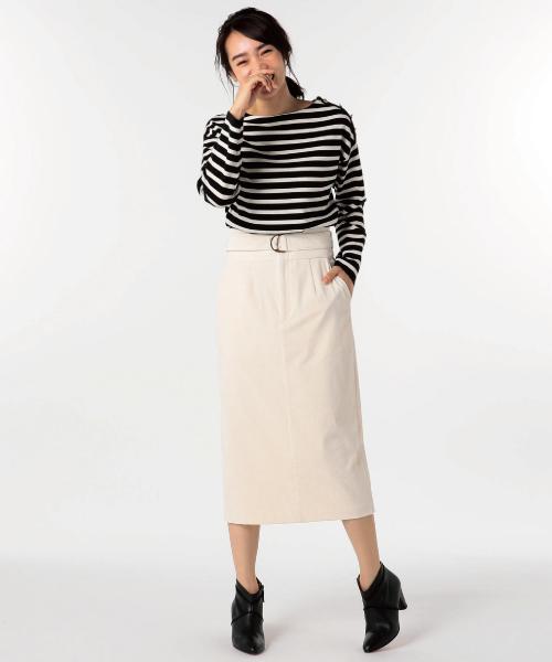 NOLLEY'S(ノーリーズ)の「シャンブレーコールベルト付タイトスカート(スカート)」|アイボリー