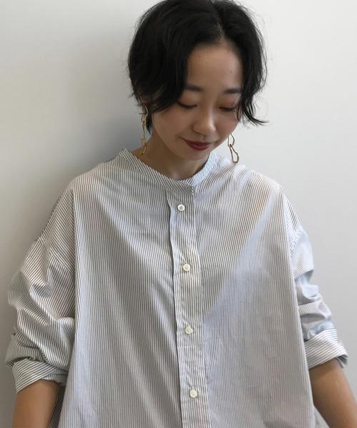 スタンドカラーBIGシャツ