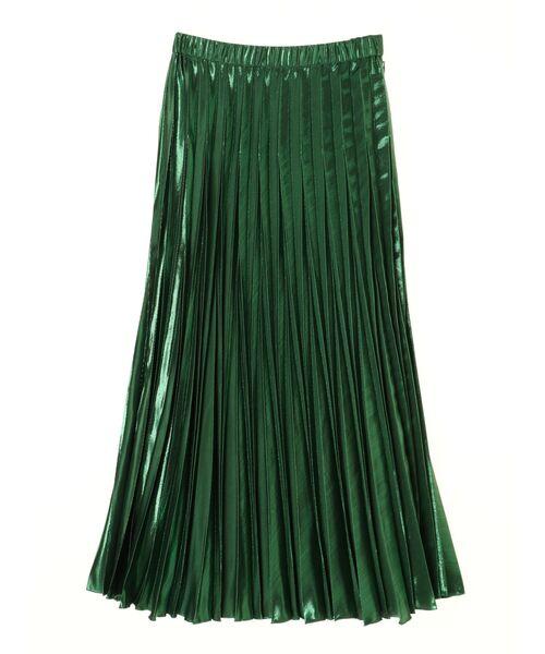 UN3D.(アンスリード)の「オリガミプリーツラメスカート(スカート)」|グリーン