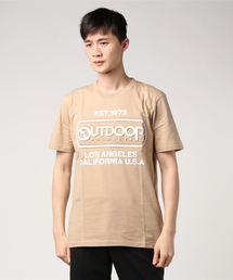 【OUTDOOR PRODUCTS】エンボスプリントロゴTシャツ ブランドロゴ ビッグロゴプリントベージュ