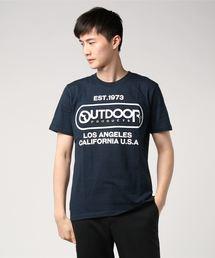 【OUTDOOR PRODUCTS】エンボスプリントロゴTシャツ ブランドロゴ ビッグロゴプリントネイビー