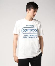 【OUTDOOR PRODUCTS】エンボスプリントロゴTシャツ ブランドロゴ ビッグロゴプリントホワイト