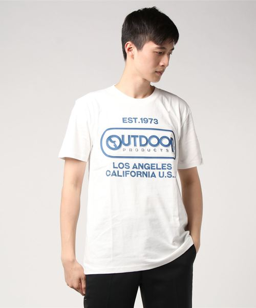 【OUTDOOR PRODUCTS】エンボスプリントロゴTシャツ ブランドロゴ ビッグロゴプリント