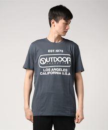 【OUTDOOR PRODUCTS】エンボスプリントロゴTシャツ ブランドロゴ ビッグロゴプリントチャコールグレー