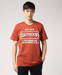 【OUTDOOR PRODUCTS】エンボスプリントロゴTシャツ ブランドロゴ ビッグロゴプリントレンガ