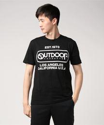 【OUTDOOR PRODUCTS】エンボスプリントロゴTシャツ ブランドロゴ ビッグロゴプリントブラック