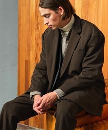 【セットアップ】梨地ルーズリラックス ドレープ ダブルテーラードジャケット/ワンタックフレアスラックスパンツ EMMA CLOTHES 2020AWダークブラウン
