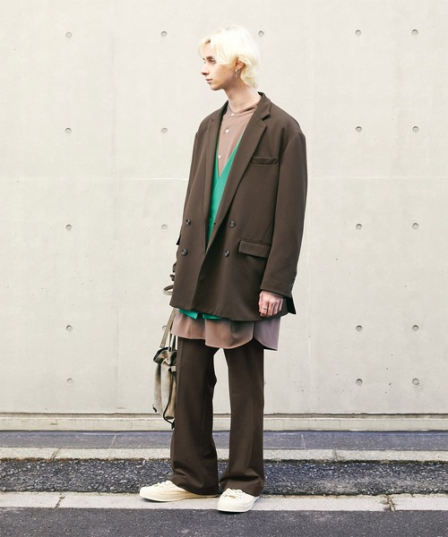【セットアップ】梨地ルーズリラックス ドレープ ダブルテーラードジャケット/ワンタックフレアスラックスパンツ EMMA CLOTHES 2020-2021WINTER