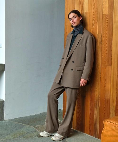 【セットアップ】梨地ルーズリラックス ダブルテーラードジャケット&ワンタックフレアスラックスパンツ EMMA CLOTHES 2021 SPRING
