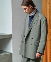 【セットアップ】梨地ルーズリラックス ドレープ ダブルテーラードジャケット/ワンタックフレアスラックスパンツ EMMA CLOTHES 2020AWグリーン系その他
