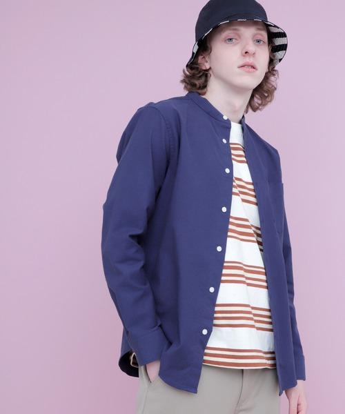 オックスフォードストレッチバンドカラーシャツ