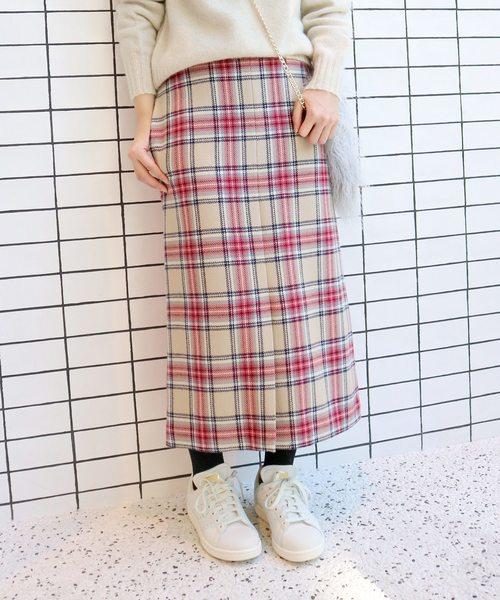 SLOBE IENA(スローブイエナ)の「ボダニーチェック タイトミディスカート◆(スカート)」|ベージュ