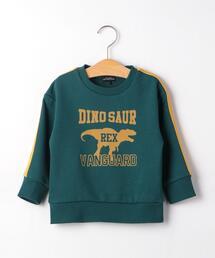 裏毛 恐竜 プリント 袖ライン プルオーバー
