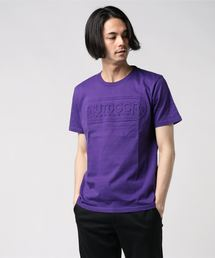 【OUTDOOR PRODUCTS】エンボスロゴTシャツ 同色プリント ブランドロゴパープル