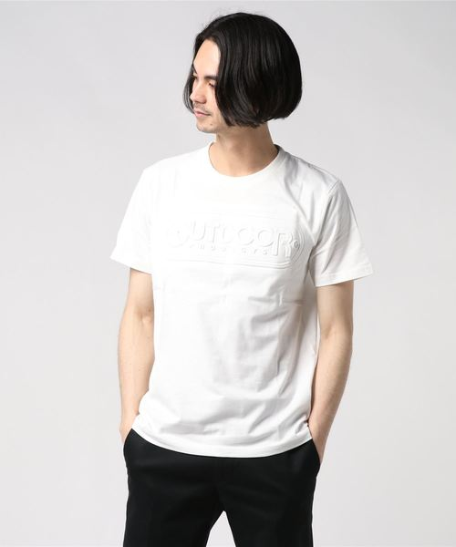 【OUTDOOR PRODUCTS】エンボスロゴTシャツ 同色プリント ブランドロゴ